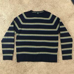 J.Crew Blue Green Striped Lambs Wool Sweater XL